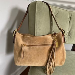 COACH Tan Suede East West Tassel Hobo Bag 1421